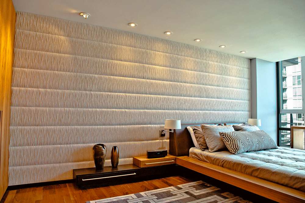 Upholstered walls installer in vancouver certified installer for Padded wall wallpaper