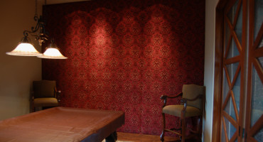 Home Office with Upholstered Walls