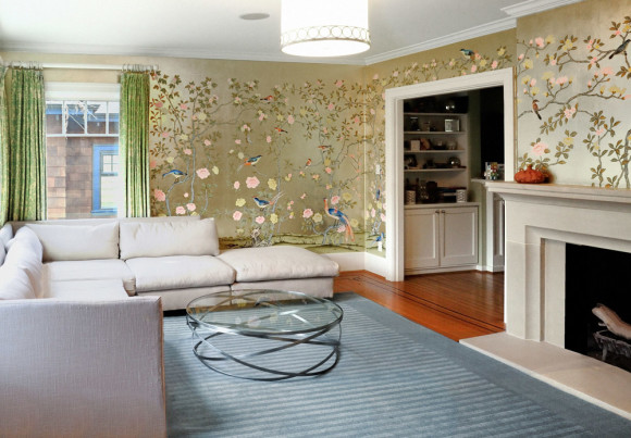 Hand Painted Mural in Silver Leaf